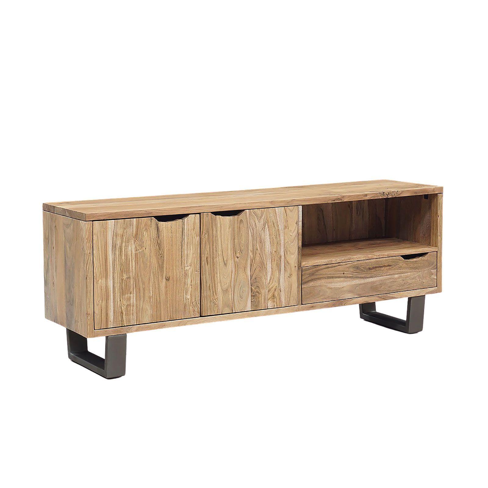 Meuble Tv bois naturel et fer