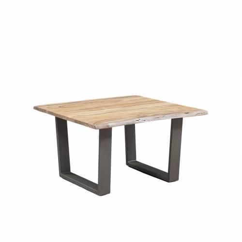 Table basse carrée bois nature industriel
