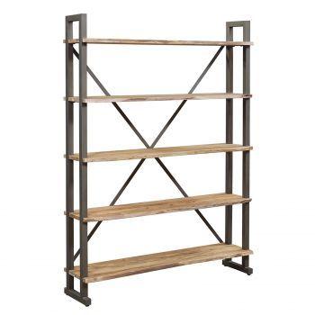 Grande étagère bois brut industriel