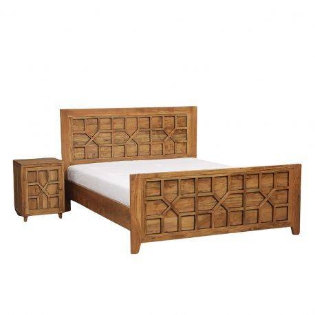 Lit arabesque bois exotique 160   Acacia Punjab