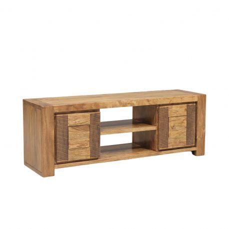 Petit meuble Tv bois strié 2P 2N | Acacia Verone