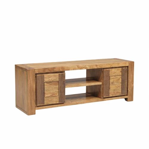 Petit meuble Tv bois massif strié