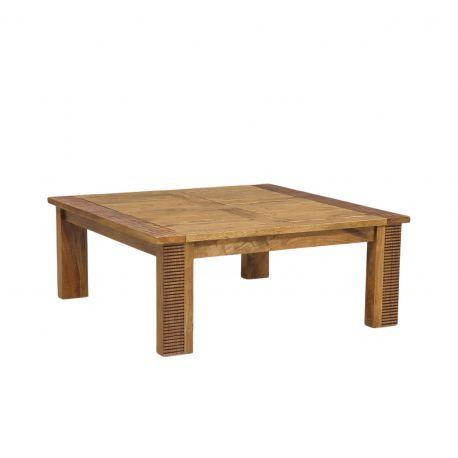 Table basse carrée bois strié | Acacia Verone