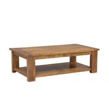 Table basse rectangulaire double plateau bois massif strié