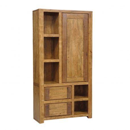 Buffet bibliothèque bois strié 2T 5N 1P | Acacia Verone