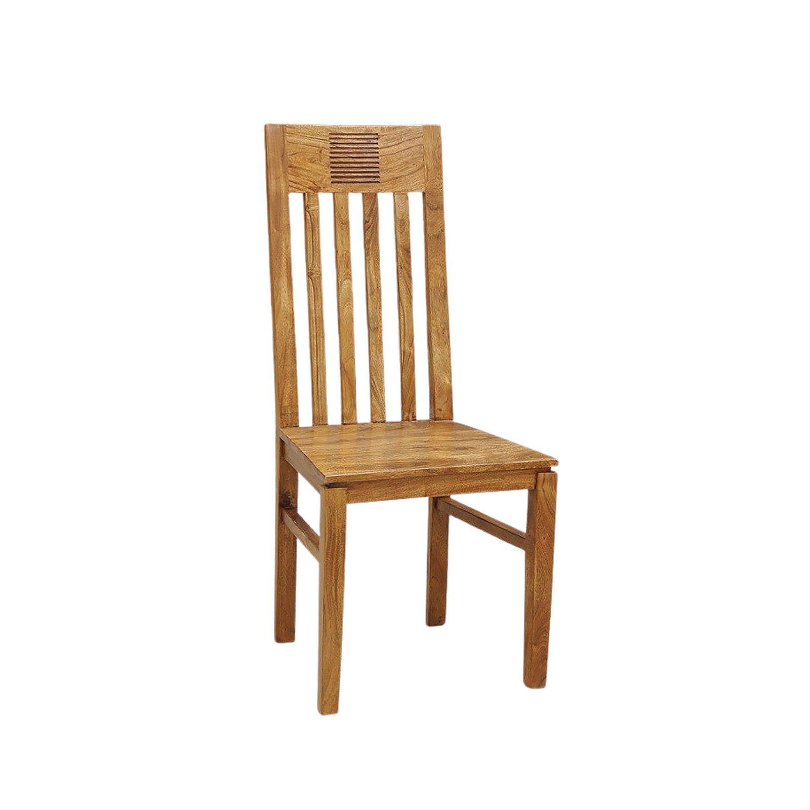Chaise bois massif exotique strié