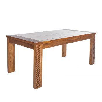 Table à manger rectangulaire bois massif strié