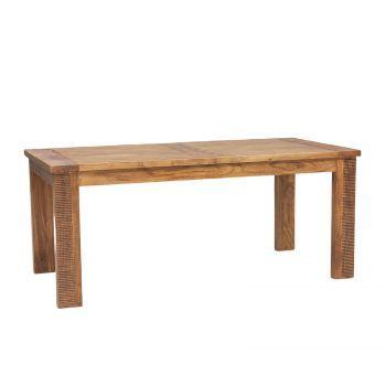 Table à manger rectangulaire rallonge bois massif strié