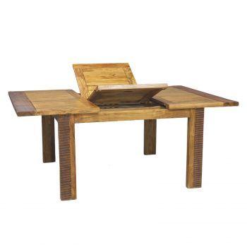Table de repas carrée allonge bois massif strié