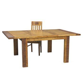 Table de séjour carrée allonge bois exotique strié