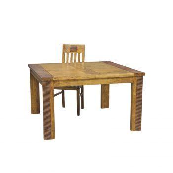 Table à manger carrée allonge bois massif strié