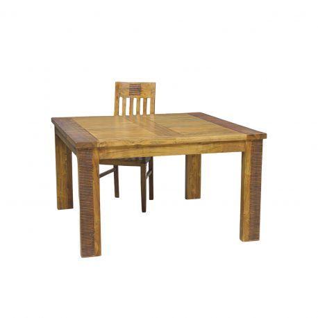 Table de repas carrée allonge bois strié | Acacia Verone