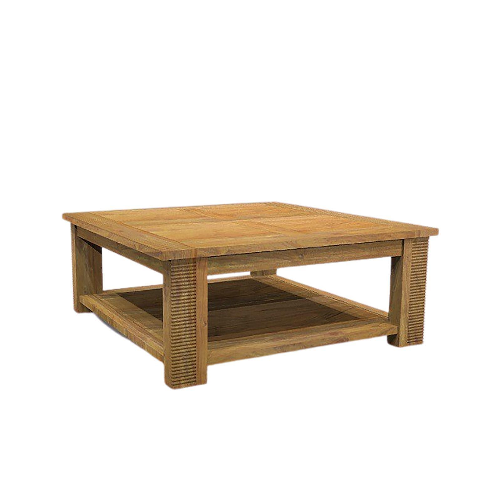 Table basse carrée double plateau bois massif strié