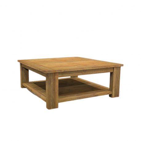 Table basse carrée double plateau bois strié | Acacia Verone