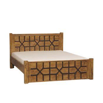 Lit sculpté arabesque bois exotique massif 160