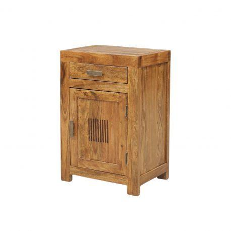 Chevet strié bois - Charnière droite | Acacia Ramani