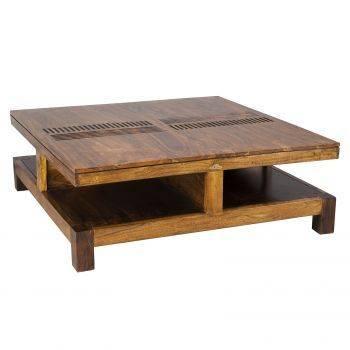 Grande table basse carrée bois sculpté en acacia massif