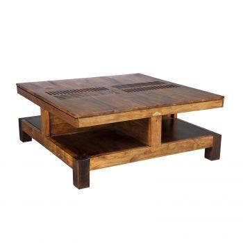 Table basse carrée bois massif sculpté exotique chic