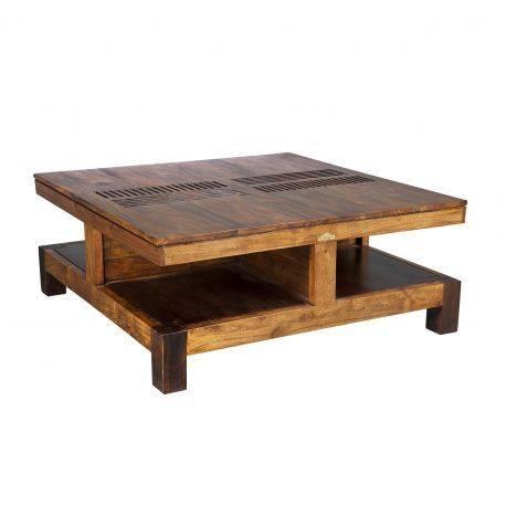 """Table basse carrée bois massif sculpté """"Acacia Domino"""""""