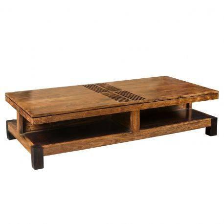 "Grande table basse rectangulaire bois sculpté ""Acacia Domino"""