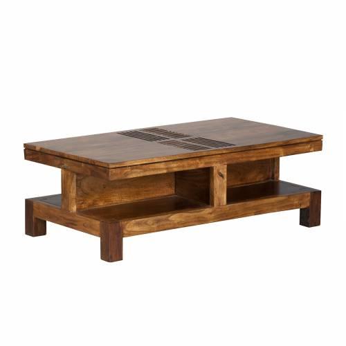 Table basse rectangulaire bois massif sculpté ethnique chic