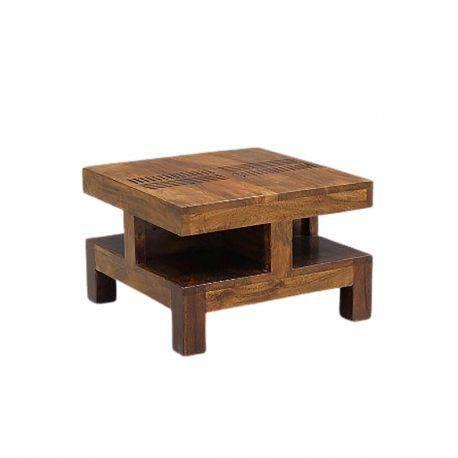 "Bout de canapé bois massif sculpté ""Acacia Domino"""