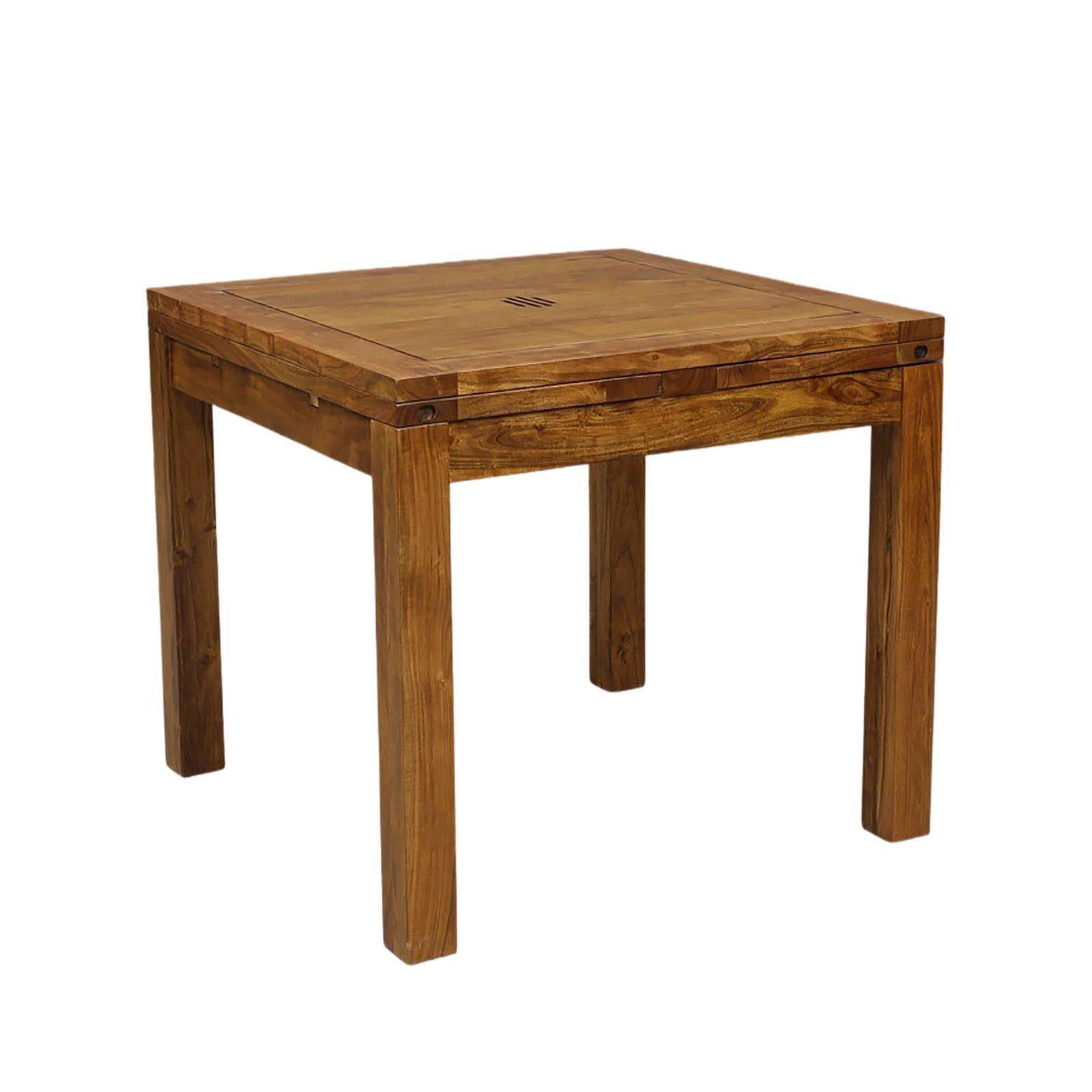 Petite table à manger carrée avec 2 allonges en bois massif