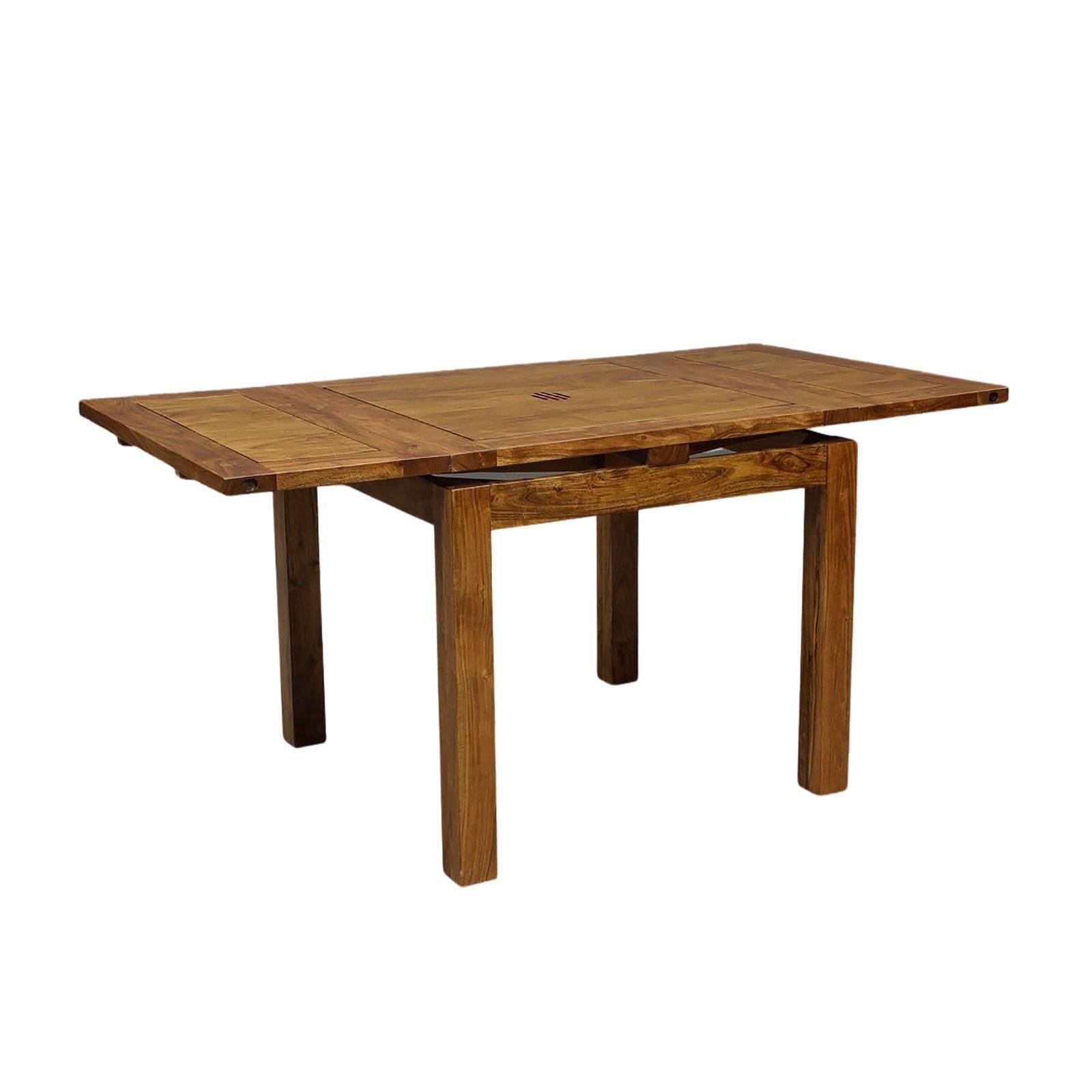 Petite table de repas carrée avec 2 rallonges en bois de qualité