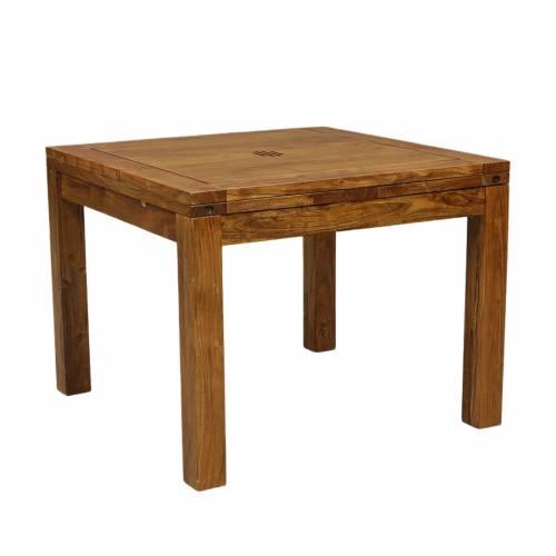 Table à manger carrée avec 2 allonges en bois massif