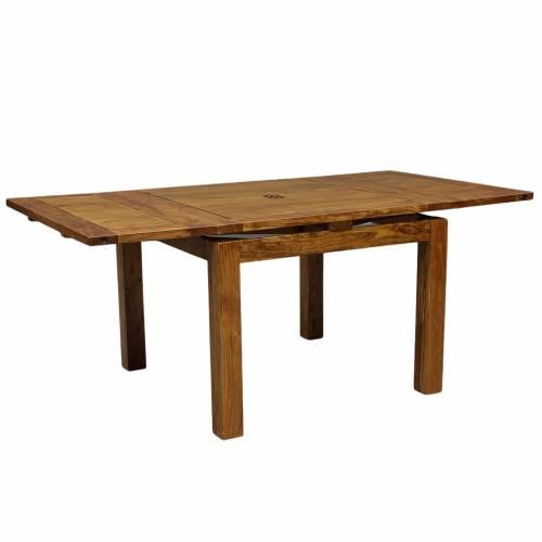 Table de repas carrée avec 2 rallonges en bois de qualité