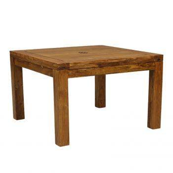 Grande table à manger carrée avec 2 allonges en bois massif