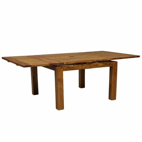 Grande table de repas carrée avec 2 rallonges en bois de qualité