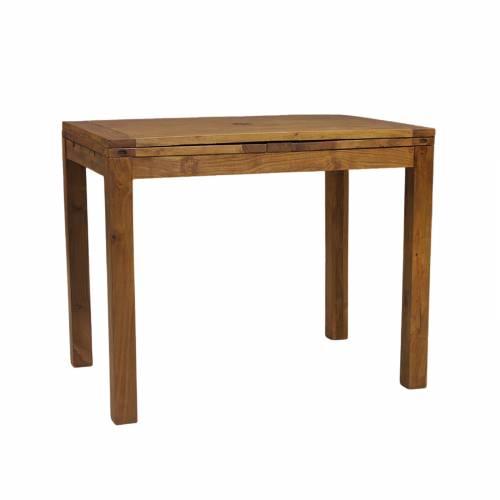 Table haute mange debout rectangulaire avec 2 allonges en bois massif