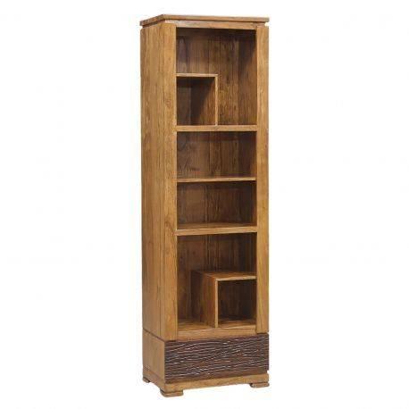 "Petite bibliothèque bois sculpté bicolore 1T ""Acacia Maya"""