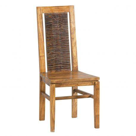 "Chaise bois sculpté bicolore ""Acacia Maya"""