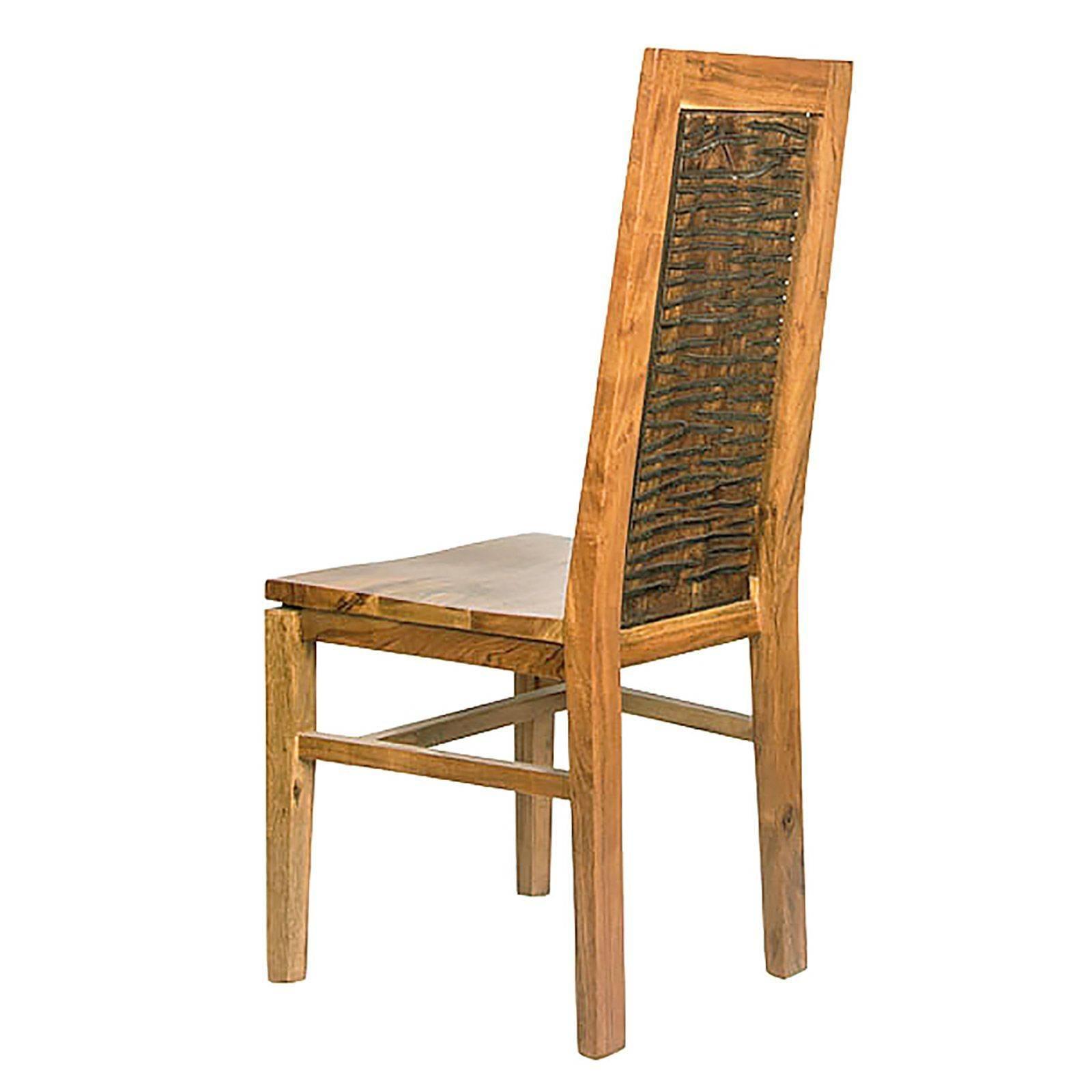 Chaise bois sculpté bicolore