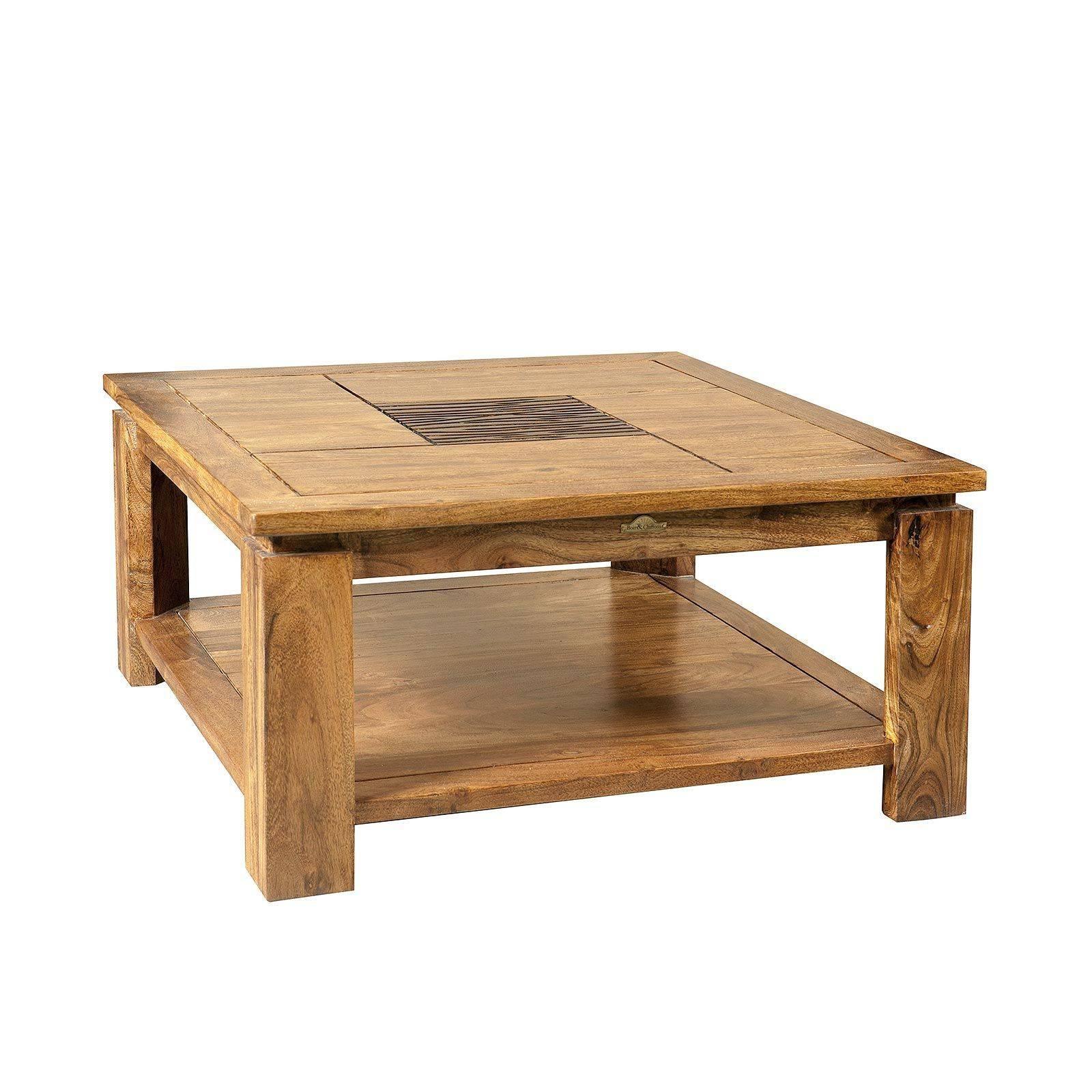 """Table basse carrée bois sculpté bicolore """"Acacia Maya"""""""