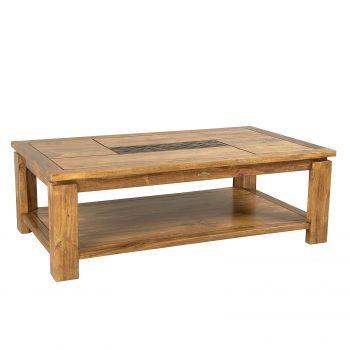 """Table basse rectangulaire bois sculpté bicolore """"Acacia Maya"""""""