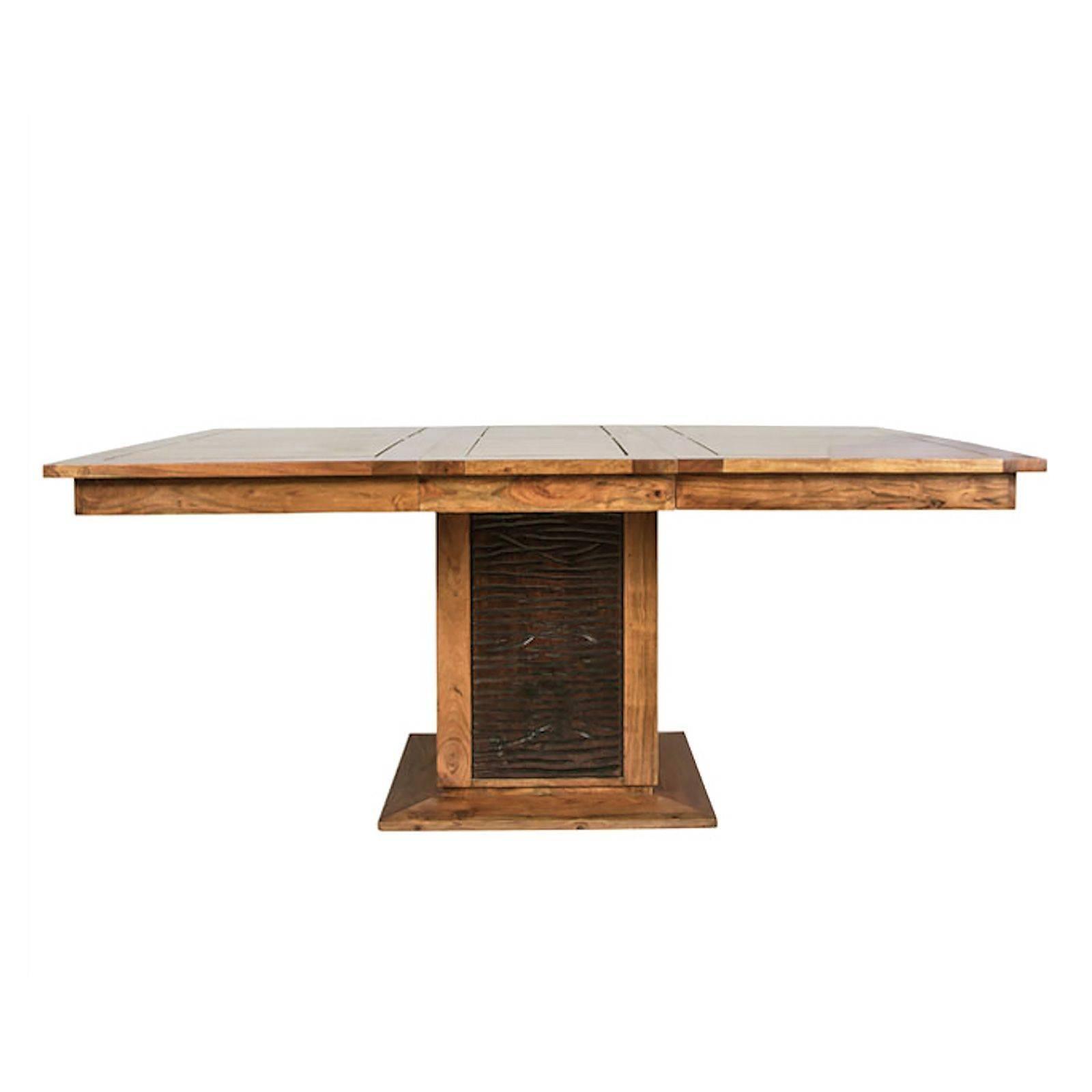 Table à manger carrée bois sculpté bicolore 130