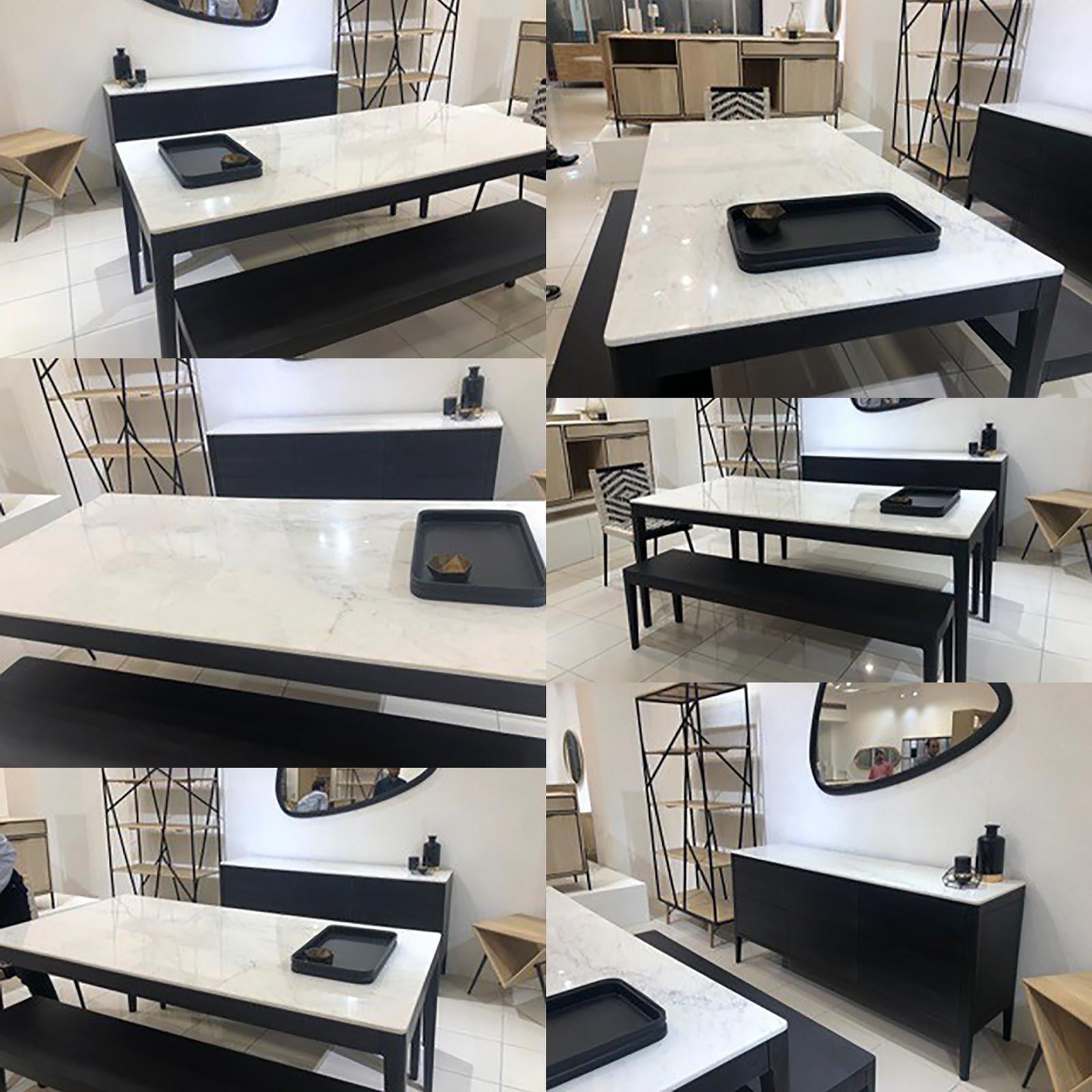 "Buffet bois plateau marbre blanc 3T ""Manguier Amsterdam"""
