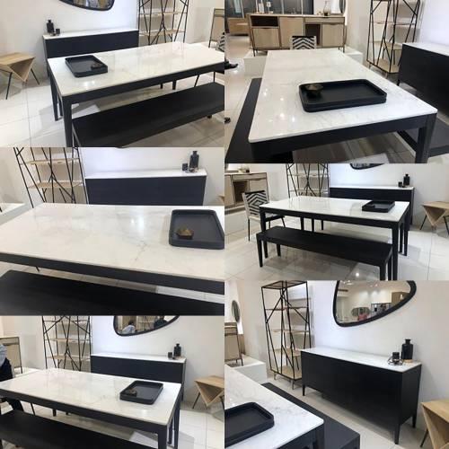 """Table à manger design plateau marbre """"Manguier Amsterdam"""""""