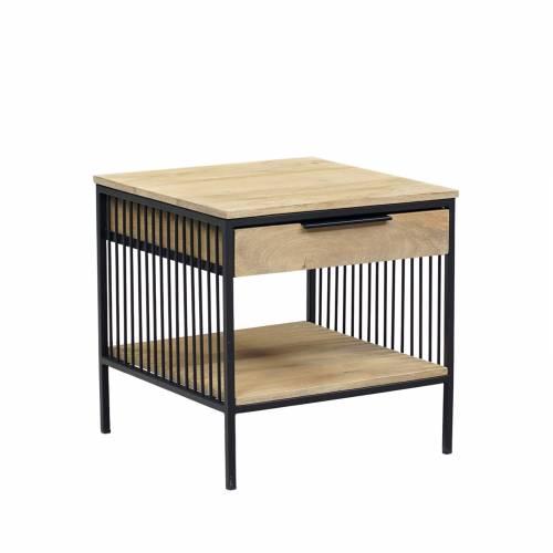 Bout de canapé design industriel bois nature