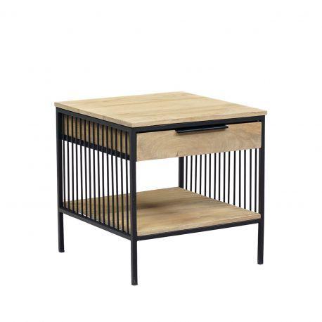 """Chevet design - Bout de canapé métal noir 2T """"Manguier Linéo"""""""
