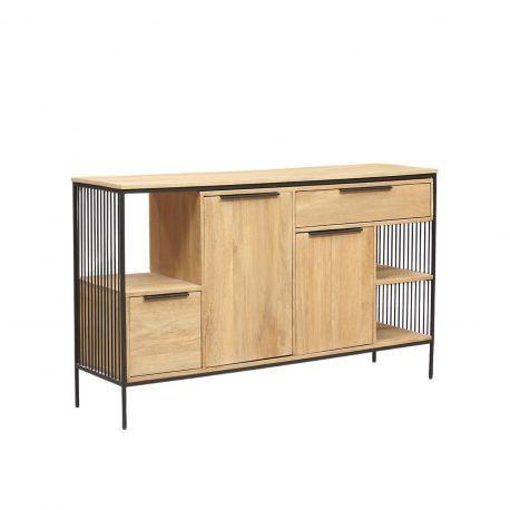 """Petit buffet design industriel loft 2P 2T """"Manguier Linéo"""""""