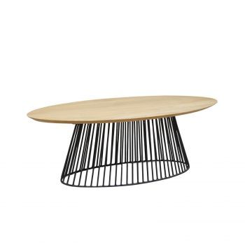 Table basse industrielle ovale pied metal noir