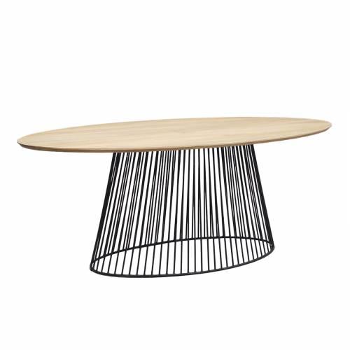 Table à manger ovale design industriel plateau bois
