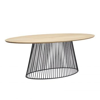 Table à manger ovale design industriel pied metal noir