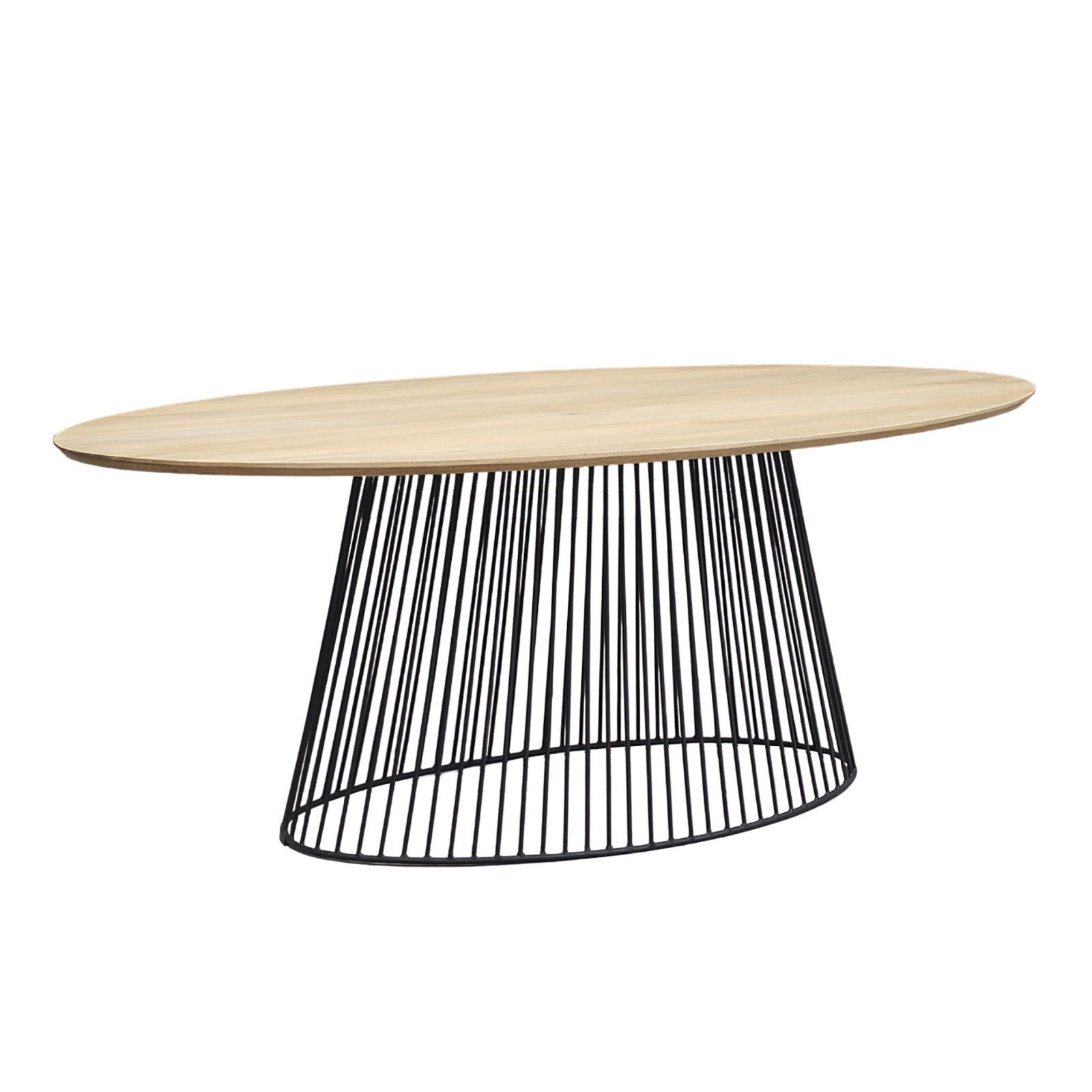 Table à manger ovale design industriel pied metal noir