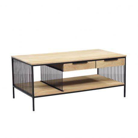 """Table basse rectangulaire design industriel 2T """"Manguier Lineo"""""""