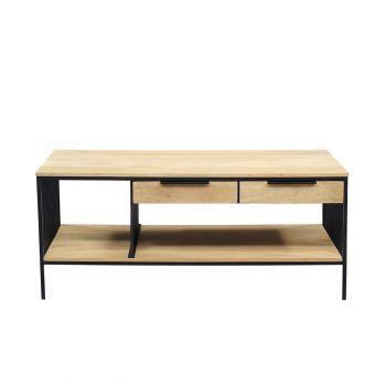 Table basse rectangulaire industrielle fer et bois